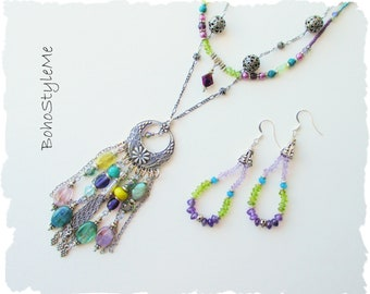 Boho Style Gemstone Necklace, BohoStyleme, Bohemian Jewelry, Global Chic Modern Hippie Necklace, Vibrant Peacock Colors, Jewelry Set
