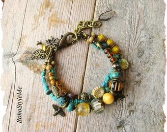 Nature Inspired Honey Bee Bracelet, Boho Turquoise Jewelry, Bohemian Jewelry, Save The Bees, BohoStyleMe, Nature Lover
