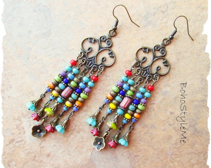 Featured listing image: Boho Style Earrings, Bohemian Jewelry, BohoStyleMe, Boho Colorful Beaded Earrings, Hippie Chic Earrings, Chandelier Earrings