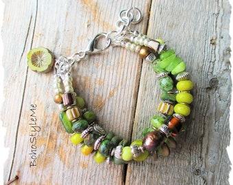 Bohemian Beaded Bracelet, BohoStyleMe, Green Nature Inspired Boho Modern Hippie Braclet, Rustic Global Chic Jewelry