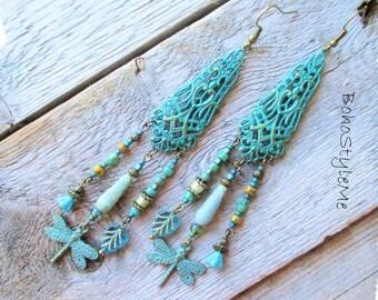 Long Boho Chandelier Earrings, Bohemian Jewelry, BohoStyleMe, Modern Hippie Jewelry, Dragonfly Earrings