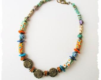 Colorful Tribal Beaded Choker Necklace, BohoStyleMe, Handmade Krobo Bead Statement Necklace, Ethnic Bohemian Necklace