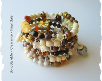 Closeout, Clearance, Final Sale, BohoStyleMe, Stackable Layer Beaded Bracelet, Boho Bracelet, Bohemian Bracelet