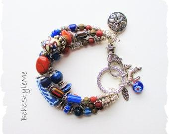 Rustic Blue Boho Cowgirl Bracelet, BohoStyleMe, Chunky Bohemian Statement Bracelet, Handmade Chunky Beaded Bracelet