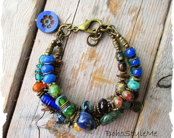 Boho Colorful Nature Bracelet, BohoStyleMe, Handmade Beaded Bracelet, Bohemian Jewelry, Blue Green Layer Bracelet