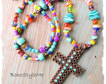 Boho Colorful Beaded Copper Cross Pendant Necklace, BohoStyleMe, Inspiring Bohemian Necklace, Bright Bold Mixed Colors