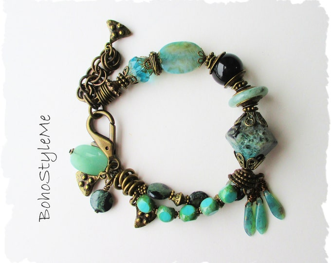 Featured listing image: Rustic Gemstone Bohemian Bracelet, Green Chunky Stone Statement Bracelet, BohoStyleMe, Modern Hippie Chic Jewelry