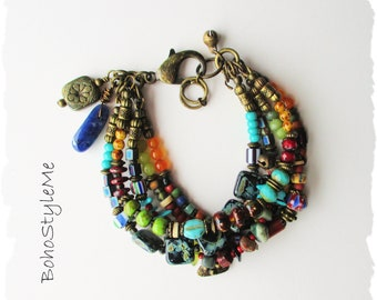 Colorful Mixed Gemstone Bohemian Bracelet, BohoStyleMe, Handmade Mixed Color Boho Bracelet Jewelry, Modern Hippie Jewelry