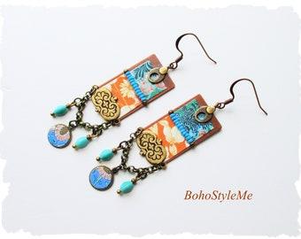 Boho Colorful Unique Modern Hippie Earrings, BohoStyleMe Jewelry, Handmade Artisan Earrings, Dangle Earrings