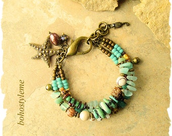 Closeout - Clearance - Final Sale - Bohemian Jewelry, Boho Style Beaded Bracelet, Layered Bracelet, bohostyleme
