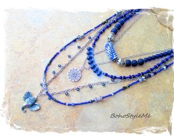 Boho Blue Beaded Necklace, Bohemian Elephant, BohoStyleMe, Multilayer Pendant Necklace, Boho Style Me Jewelry