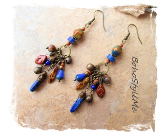 Boho Blue Beaded Earrings, Bohemian Jewelry, BohoStyleMe, Handmade Boho Style Earrings, Modern Hippie Chic