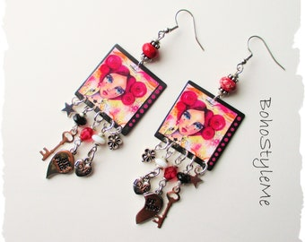 Girl with Pink Hair, Fun Boho Style Earrings, BohoStyleMe, Best friend Jewelry, Handmade Assemblage Earrings