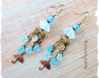 Boho Style Umbrella Assemblage Art Earrings Jewelry, BohoStyleMe, Bohemian Earrings, Rainy Days and Mondays, Bumbershoot