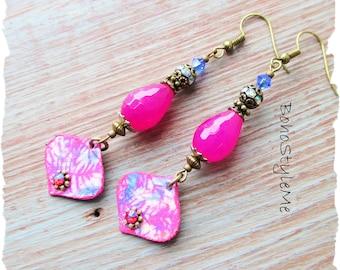 Boho Bright Pink Bohemian Gypsy Style Beaded Earrings, BohoStyleMe, Fun Playful Lightweight Dangle Earrings, Modern Hippie Jewelry