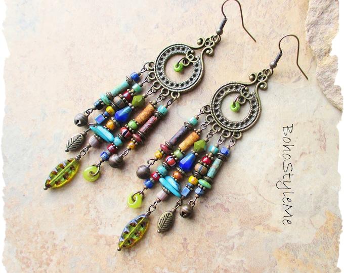 Featured listing image: Boho Style Earrings, Bohemian Jewelry, BohoStyleMe, Long Colorful Beaded Earrings, Rustic Tribal Earrings, Chandelier Earrings