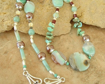 Closeout, Clearance, Final Sale, Boho Necklace, Green Agate, Stone Necklace, Bohemian Style, Beaded Necklace