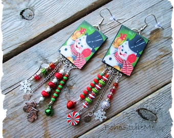 Vintage Snowman Earrings, BohoStyleMe, Christmas Earrings, Handmade Asymmetrical Assemblage Earrings, Fun Boho Earrings