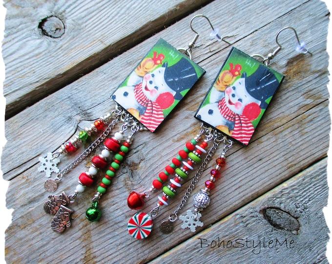 Featured listing image: Vintage Snowman Earrings, BohoStyleMe, Christmas Earrings, Handmade Asymmetrical Assemblage Earrings, Fun Boho Earrings