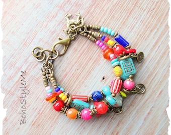 Boho Colorful Bright Beaded Bohemian Handmade Bracelet, BohoStyleMe, Semi-Precious Stone Bohemian Hippie Jewelry