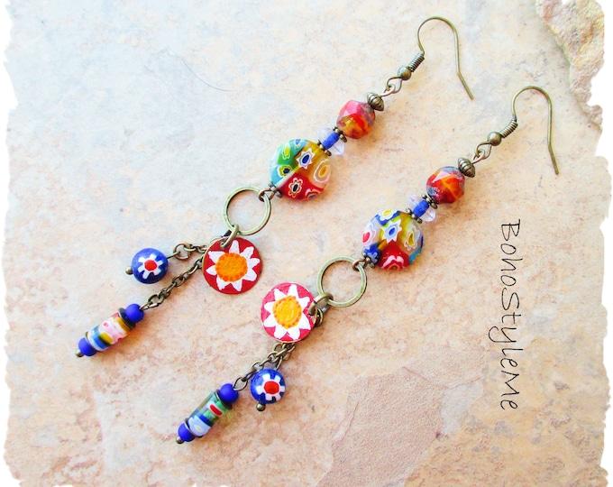 Featured listing image: Long Boho Colorful Fun Beaded Earrings, Bohemian Jewelry, BohoStyleMe, Modern Hippie Chic Earrings, Handmade Millefiori Earrings