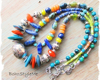 African Tribal Beaded Multiple Gemstone Necklace, BohoStyleMe, Long Colorful Handmade Global Chic Necklace, Ethnic Bohemian Jewelry