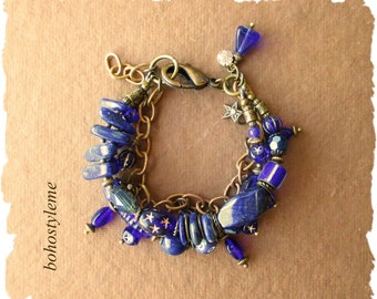 Bohemian Jewelry, bohostyleme, Blue Gemstone Celestial Bracelet, Star and Moon Boho Charm Bracelet, Kaye Kraus