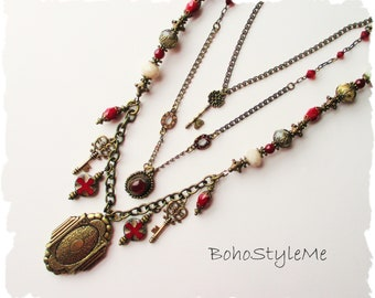 Ruby Red Beaded Bohemian Necklace, BohoStyleMe, Locket Necklace, Long Bohemian Style Necklace, Bold Statement Necklace