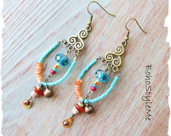 Rustic Tribal Bohemian Primitive Assemblage Earrings, BohoStyleMe, Sunstone and Amber Gemstone Beaded Dangle Earrings