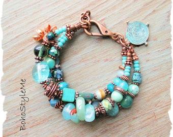 Rustic Tribal Gemstone Bohemian Bracelet, BohoStyleMe, Ocean Inspired, Handmade Blue Green Chunky Beaded Boho Bracelet