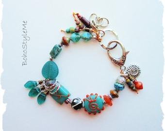 Boho Style Colorful Beaded Modern Hippie Bracelet, BohoStyleMe, Hand Knotted Bohemian Bracelet, Global Chic Jewelry