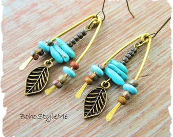 Turquoise Bohemian Artisan Earrings, BohoStyleMe, Primitive Tribal Boho Mixed Hammered Metals Leaf Charm Assemblage Jewelry