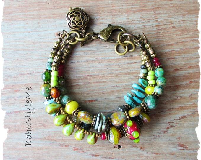 Featured listing image: Bohemian Jewelry, BohoStyleMe, Green Stone Glass Earthy Beaded Global Chic Hippie Style Bracelet, Boho Bracelet