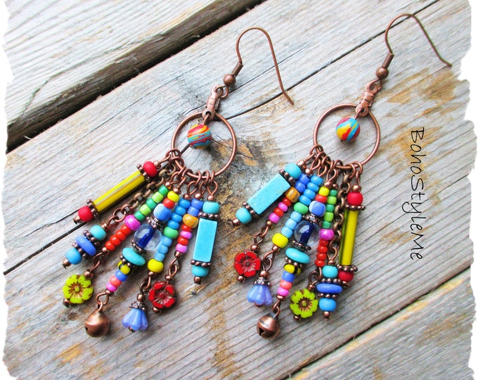 Featured listing image: Bohemian Jewelry, BohoStyleMe, Boho Colorful Dangle Earrings, Fun Beaded Earrings, Modern Hippie Fashion Jewelry