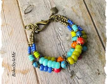 Bold Color Boho Bracelet, Bohemian Jewelry, Vibrant Color Jewelry, BohoStyleMe, Mixed Colors, Modern Bracelet