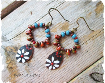 Boho Hippie Flower Earrings, Handmade Boho Hand Painted Earrings, BohoStyleMe, Bohemian Jewelry, Hippie Earrings
