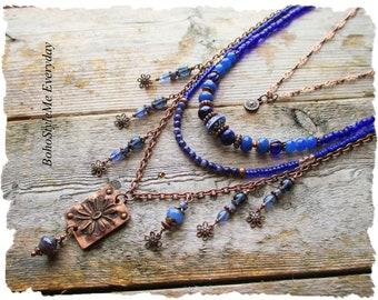 Blue Bohemian Layered Necklace, Copper Pendant Necklace, BohoStyleMe, Cobalt Blue, Fringe Dangle Necklace
