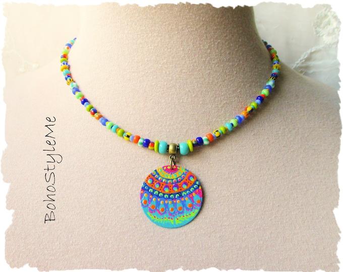 Featured listing image: Boho Style Colorful Fun Beaded Bohemian Necklace, Hand Painted Mandala, BohoStyleMe, Modern Hippie Chic Jewelry