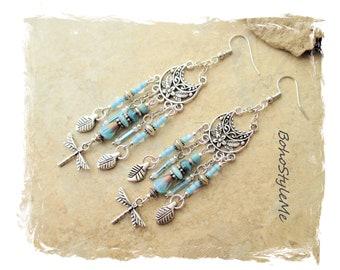 Boho Blue Beaded Dragonfly Earrings, Bohemian Jewelry, Pastel Blue, BohoStyleMe, Modern Hippie Chic Nature Earrings