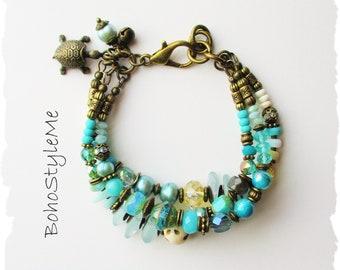 Natural Ocean Inspired Bohemian Bracelet, BohoStyleMe, Boho Style Beaded Layer Bracelet, Handmade Blue Coastal Jewelry