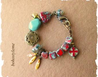 Bohemian Jewelry, bohostyleme, Rustic Colorful Tribal Beaded Bracelet, Handmade Beaded Bracelet, Kaye Kraus