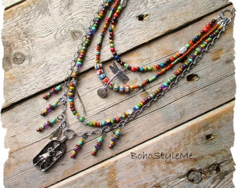 Colorful Boho Garden Fairy Beaded Necklace, Layered Bohemian Necklace, BohoStyleMe, Antiqued Silver Necklace