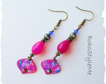 Boho Style Bright Pink Dangle Earrings, BohoStyleMe, Colorful Bohemian Jewelry, Handmade Boho Free Style Earrings