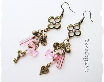 Boho Vintage Pink Crystal Dangle Earrings, Assemblage Earrings, BohoStyleMe, Bohemian Jewelry, Fairytale Earrings