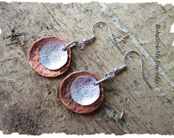 Boho Rustic Hammered Copper Silver Dangle Earrings, Bohemian Jewelry, BohoStyleMe, Handmade Beaded Earrings