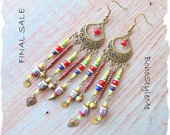 Closeout Clearance Final Sale, Boho Handmade Chandelier Earrings, Bohemian Jewelry, BohoStyleMe, Long Colorful Earrings