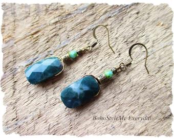 Natural Stone Earrings, Dangle Earrings, Handmade Earrings, Dark Green Earrings, Brass Drop Earrings