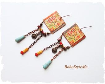 Primitive Folk art Style Boho Earrings, BohoStyleme Jewelry, Colorful Modern Quilt Art, Unique Earrings