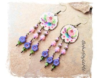 Boho Colorful Fun Hand Painted Flower Garden Earrings, Bohemian Jewelry, BohoStyleMe, Shabby Chic Jewelry