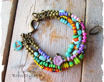 Boho Style Colorful Beaded Bracelet, BohoStyleme, Bohemian Jewelry, Modern Hippie Bracelet, Fun Bold Vibrant Colors